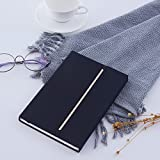 Seawind Hardcover Notebook,Durable Fabric Notebook with Magnetic Closure-8.5x5.5 in (Black)