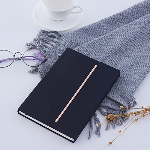 Seawind Hardcover Notebook,Durable Fabric Notebook with Magnetic Closure-8.5x5.5 in (Black) ()