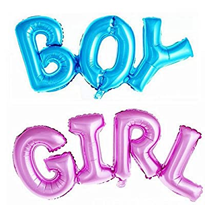 Simple polymer Boy & Girl Alphabet Letters Balloons Foil Balloons Mylar Balloons for Party Decoration, Pink, Blue: Toys & Games