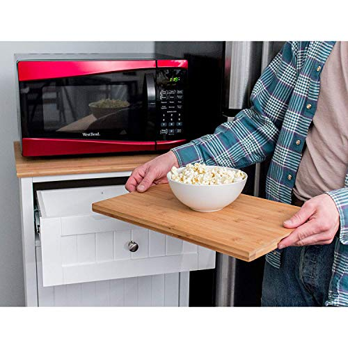 SpaceMaster SM-CMC-800 Freestanding Microwave Kitchen Cart with Trash Can Holder and Bamboo Cutting Board White by SpaceMaster (Image #3)