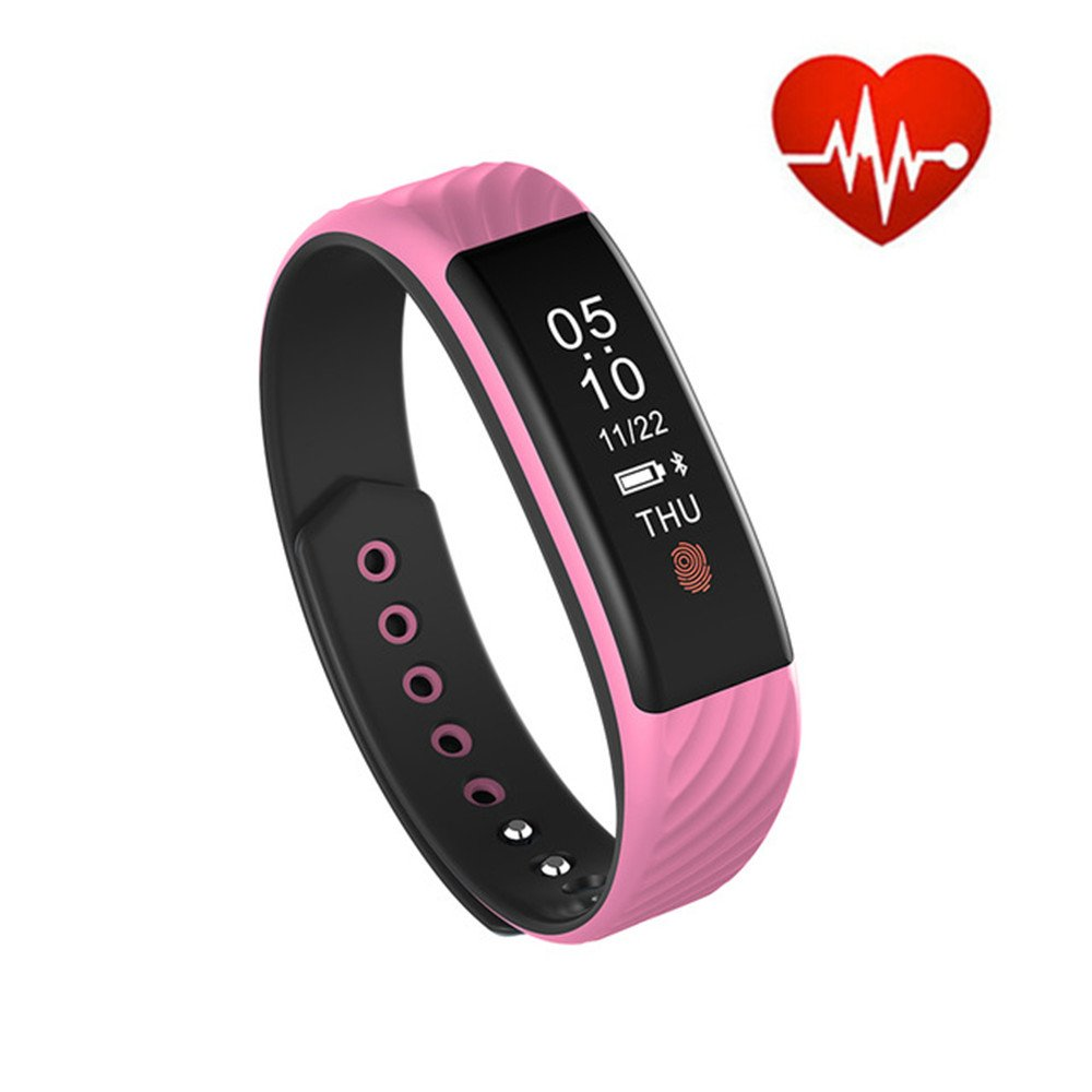 TechCode Activity Watch Sports, Waterproof Smart Band Pedometer Watch Heart Rate Monitor Wristband Calorie Counter Bracelet Fitness Health Activity Tracker for Walking Running Kids Men Women (Pink)