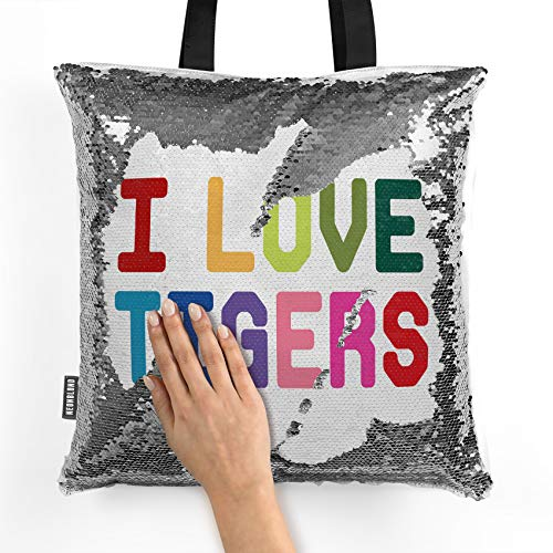 NEONBLOND Mermaid Tote Handbag I Love Tigers,Colorful Reversible Sequin