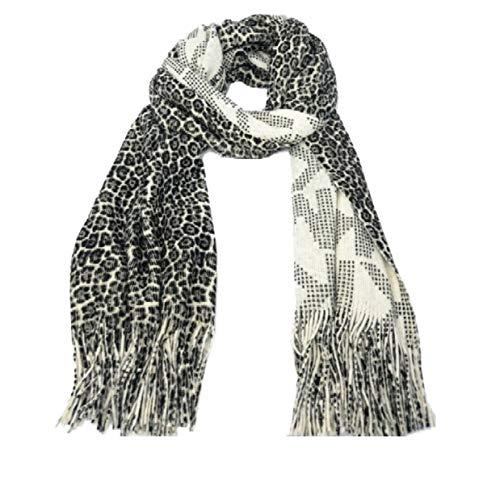 Michael Kors Women's Animal Print Reversible Fringe Scarf,Cream/Black