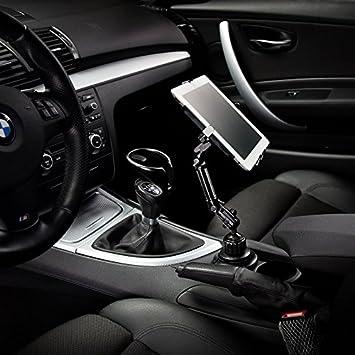 Soporte metálico de coche para Apple iPad 2, 3, 4, Air, mini, Galaxy Tab y Note, en el soporte para vasos: Amazon.es: Coche y moto