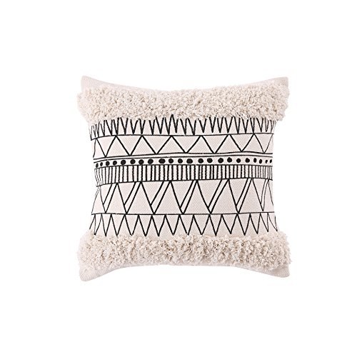 Ojia Accent Tribal Pillow Cover, Boho Decorative Black and White Neutral Collection Throw Woven Cotton Pillow Case for Home, Party, Car, Office Farmhouse Decoration (18 x 18 Inch, Tribal Tufted)