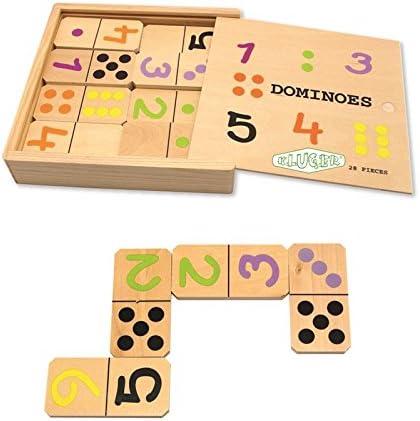 Domino madera numeros 28 fichas de 17x17cm kluger d11009: Amazon.es: Juguetes y juegos