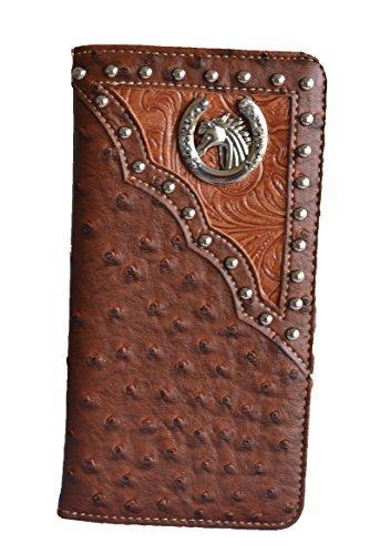 men brown black horse head concho ostrich animal long wallet western (brown)