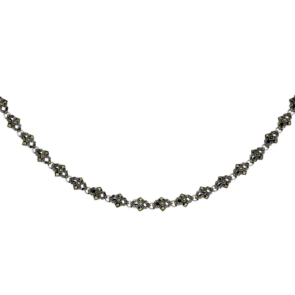 Sterling Silver Rhombus Shape Marcasite Necklace, 16 inche slong