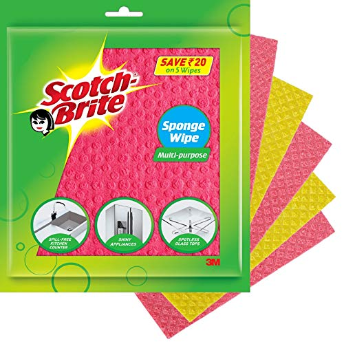 Scotch Brite ,Multi-purpose , Easy to use kitchen cleaning Sponge Wipe (5 -Pieces)
