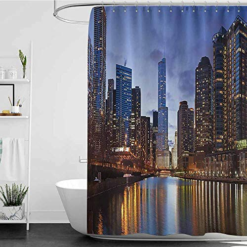 homecoco Shower Curtains Brown Grey Contemporary Urban Cityscapes Americana Decor Collection,Chicago Riverside Bridge Scene Modern USA Boho City Prints W72 x L72,Shower Curtain for clawfoot ()
