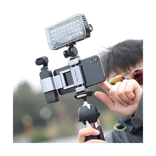Hensych per PGYTECH per Osmo Pocket/Osmo Pocket 2 Phone Holder +,Porta telefono in alluminio pieghevole Plus Set di parentesi per telefono cellulare (larghezza≤90mm) 5 spesavip
