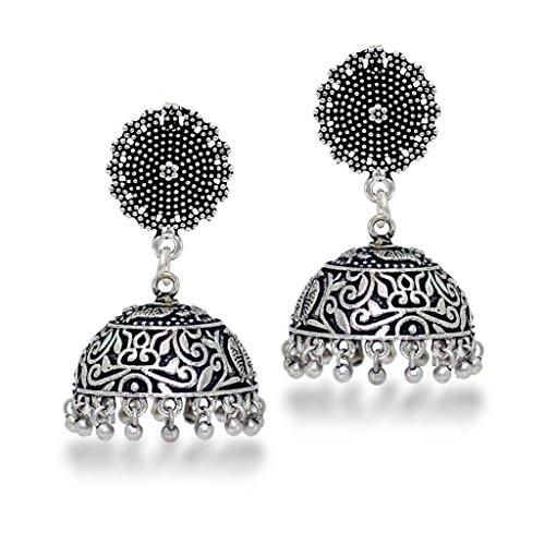 raditional Look Silver Plated Handmade Jhumka Earrings ()