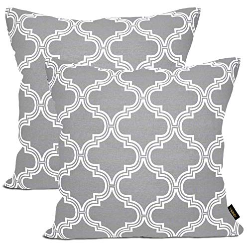 Arriba, 18x18 Inches | 45x45 Cms, Pack/Set of 2 Pcs, Modern Ikat Trellis Accent Printed Standard Size Pure Cotton Decorative Canvas Throw Pillow Cases | Cushions Covers.(Grey & White)