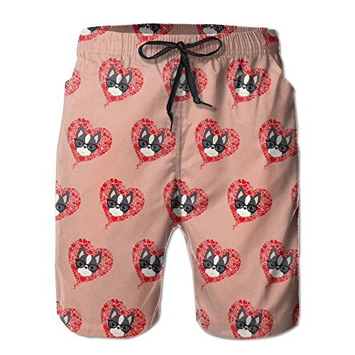 Men's Boston Terrier Love Pattern Quick Dry Lightweight Fashion Board Shorts Swim Trunks - Mo Malaysia Eye