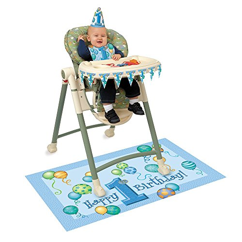 Blue 1st Birthday High Chair Decorating Kit, 4pc (First Birthday Party Supplies Boy compare prices)