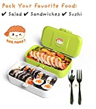 Cute Bento Lunch Box Kids - Gifts for Boy, Girl, Teen, Adult - Kawaii, Manga, Anime Style Japanese Bento Box Food Container Set - 2 Layer Leak Proof Microwavable Food Storage with Utensils
