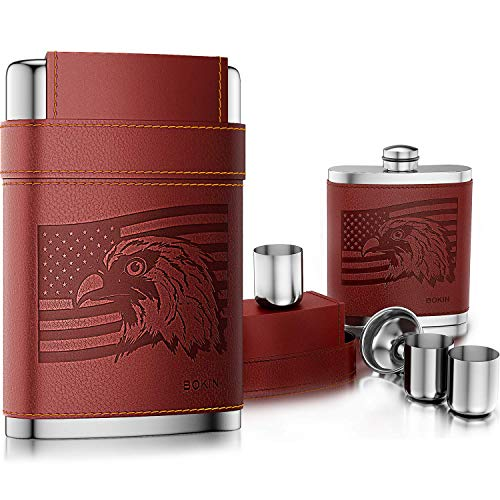 BOKIN Pocket Hip Flask 304 Stainless Steel with Funnel and 3 Cups,American Flag Eagle Brown Leather Wrapped,100% Leak Proof for Discrete Liquor, Whiskey, Rum and Shot Drinking,Gift for Man 8oz