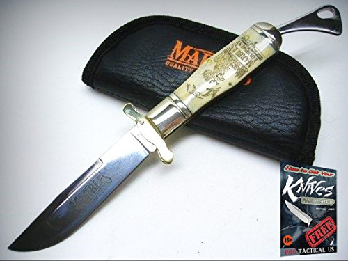 MARBLES Scrimshaw Straight BOWIE SAFETY Folder Folding Knife + Pouch Case! 001203 + free eBook by ProTactical'US