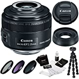 Canon EF-S 35mm f/2.8 Macro IS STM DSLR Lens with Essential Accessory Bundle Including a 49mm Filter Kit (UV-CPL-ND), Spider Tripod and Lens Cleaning Kit