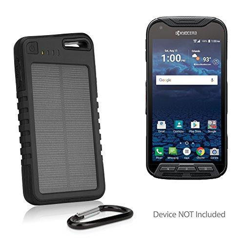BoxWave Kyocera DuraForce Pro Battery, [Solar Rejuva PowerPack (6000mAh)] Solar Powered Backup Power Bank for Kyocera DuraForce Pro - Jet Black (Backup Battery For Zte Zmax)