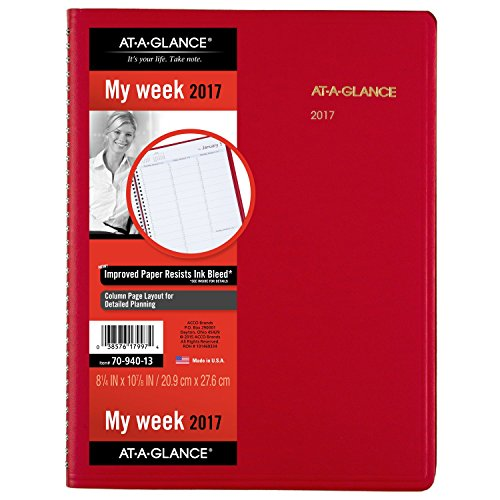 """Top AT-A-GLANCE Weekly Appointment Book / Planner 2017, 8-1/4 x 10-7/8"""", Fashion Color, Red (70-940-13) for cheap gC9gMRae"""