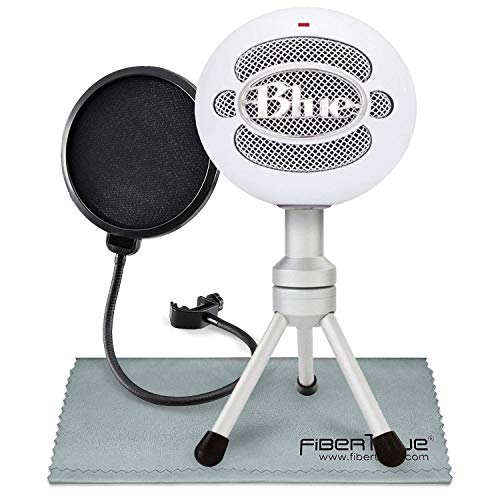 Blue Snowball iCE USB Cardioid Condenser Microphone (White) with Pop Filter Accessory Pack
