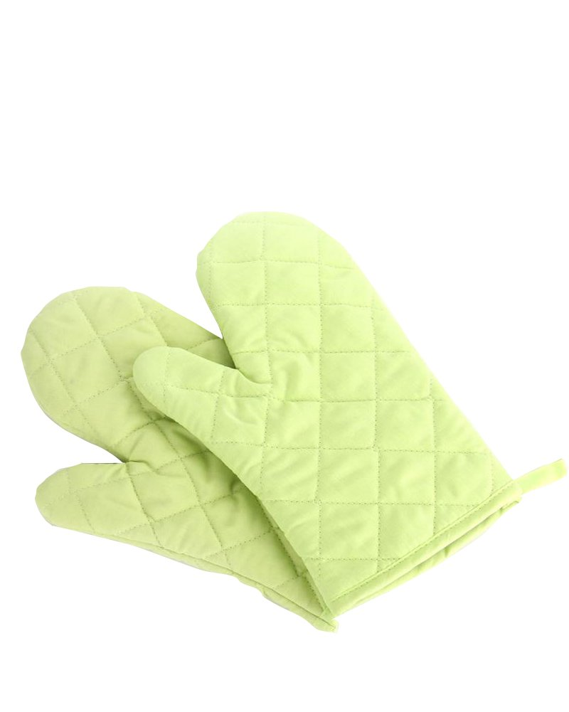 Nachvorn Oven Mitts, Premium Heat Resistant Kitchen Gloves Cotton & Polyester Quilted Oversized Mittens, 1 Pair Green