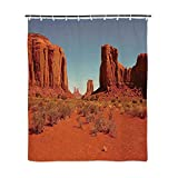 Hot Pink Ruffle Shower Curtain TecBillion Desert Fashionable Shower Curtain,Sunny Hot Day Monument Valley Arid Country Primitive Nation Arizona USA for Bathroom,72''L x 35''W