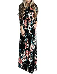 Women's Casual Floral Printed Long Maxi Dress with...
