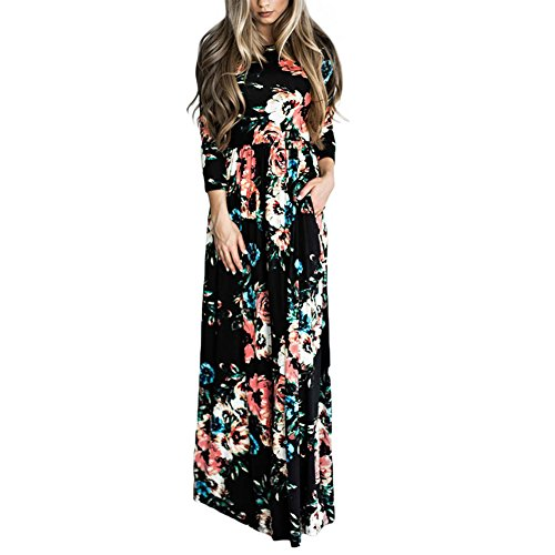 HOOYON Women's Casual Floral Printed Long Maxi Dress with Pockets(S-5XL),Black,Small