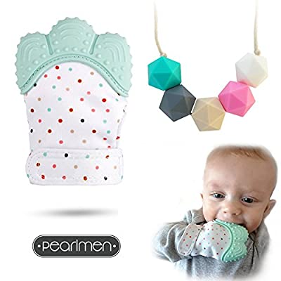 Baby Teething Mitten + Silicone Teething Necklace For Mom To Wear - Infant Teether Toys - Self Soothing Natural Pain Relief Glove - Great Baby Shower Gift - BPA Free - For The First Signs Of Teething