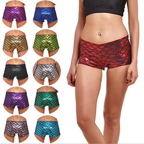 Pantaloncini Pantaloncini sexy sirena sportivi Pantaloncini Pantaloncini Rosso corti donna Duanmei da corti da wvnIanRqx