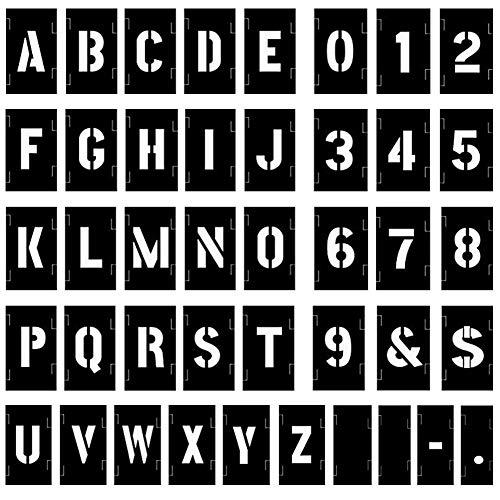 Attisstore Plastic Interlocking Stencils Letters and Numbers 138 Piece Set, 3 inch, Black