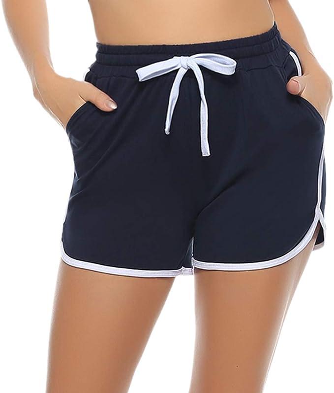Aibrou Pantalones Deporte Corto Verano de Algodón Pantalones Deportivos para Mujer Pantalón de Chándal con Bolsillos para Gimnasio Deportes Correr Jogging: Amazon.es: Ropa y accesorios