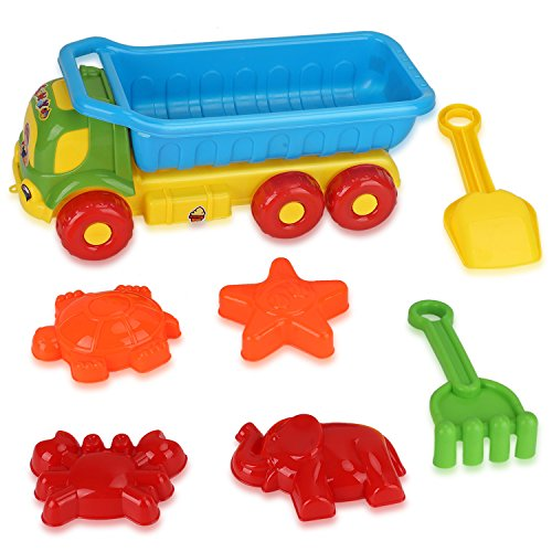 Beach Toys Deluxe Playset for Kids - 7 pieces Large Dump Truck Sand Shovel Set (Assorted Colors) (Truck Plastic)