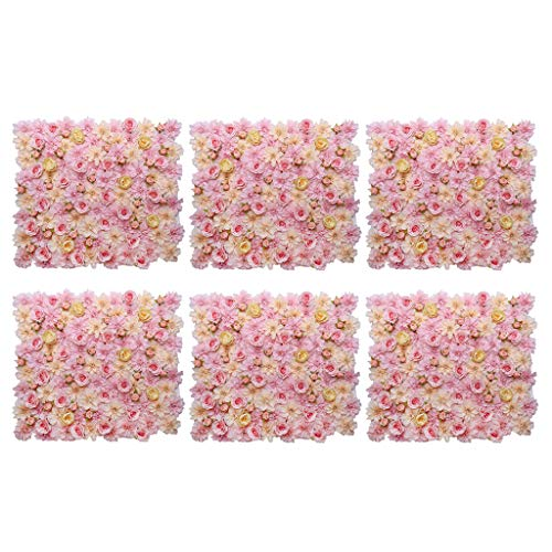 - Fenteer Pieces of 6 Silk Flower Wall Panel Mat for Wedding Venue Floral Arrangement Centerpieces Pink Champagne 40 x 60cm