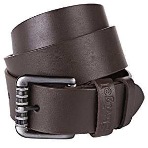 Shvigel Leather Men's Belt - Casual Jean & Classic Dress Belt for Men- with Designer Gift Box (34, Brown)