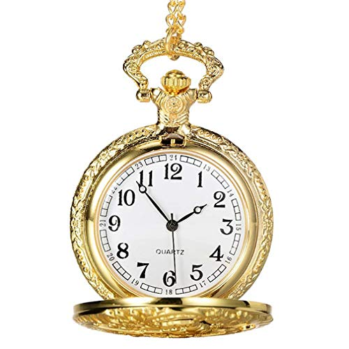 Vintage Steampunk Hollow Quartz Pocket Watch Necklace Pendant Clock Chain Jewelry Gifts LL@17 Black from Wactsa