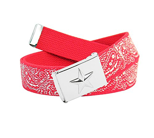 Men's Silver Flip Top Nautical Star Belt Buckle with Printed Canvas Belt Large Red Bandana Print