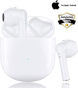 Wireless Earbuds in-Ear Bluetooth 5.0 Headphones with HD HiFi Stereo CVC8.0 Noise Canceling Bluetooth Earbuds with Mic 24H Playtime Mini Charging Case for iPhone Android Airpods Apple Earbuds