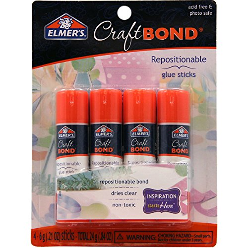 Repositionable Glue Stick Photo Safe - Elmer's CraftBond Glue Sticks, Repositionable, 0.21 Ounces, 4 Count