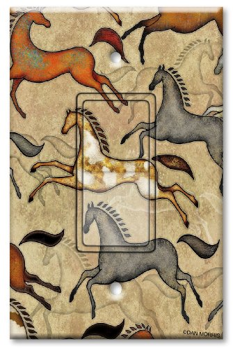Printed Decora Rocker Style Switch with matching Wall Plate - Southwest Horses