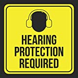 Hearing Protection Required Print Picture Yellow Black Notice Construction Area Caution Safety Public School, 12x12