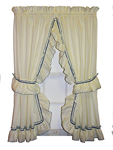 Window Toppers Jenny Country Ruffle Priscilla Curtains Pair 86-Inch-by-63-Inch - 1 1/2 Inch Rod Pocket, ()