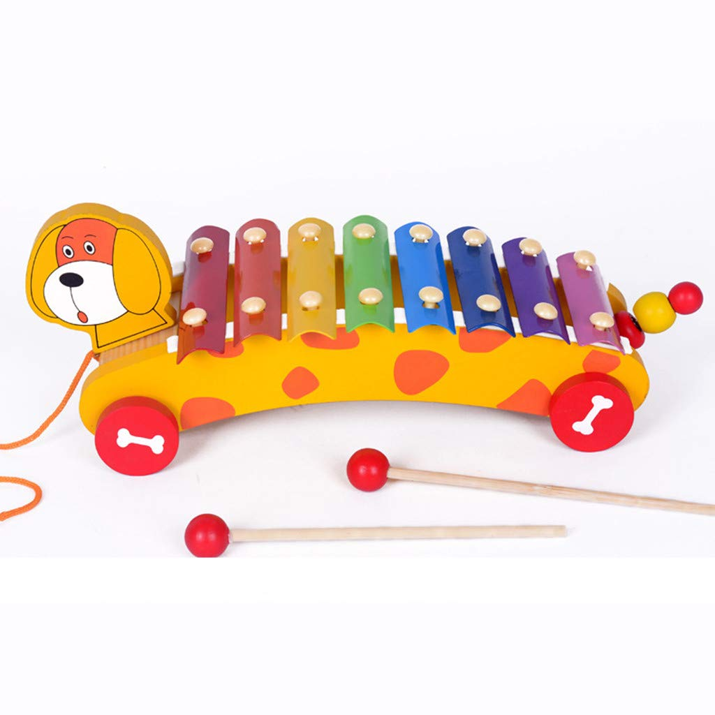 Rigel7 Toddler Toys Dragging Percussion Playful Puppy Wooden Toy Early Educational for Kids Chlidren Boys Girls Beginner Walkers
