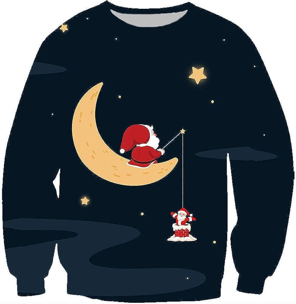 SMILANE Mens Xmas Holiday Crewneck Ugly Christmas Gentleman Sweater Long Sleeve Funny Unisex
