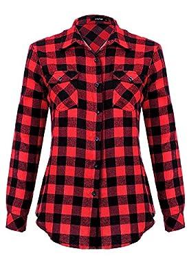 Mixfeer Women's Roll up Long Sleeve Plaid Button Down Casual Shirt