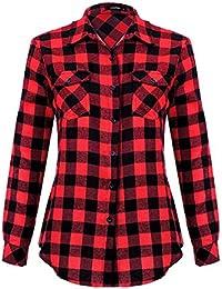 Women's Roll Up Long Sleeve Plaid Button Down Casual Shirt