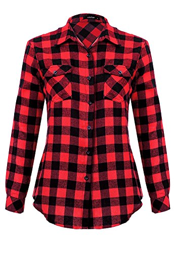 Mixfeer Women's Roll Up Long Sleeve Plaid Button Down Casual Shirt (L/s Plaid Shirt Red)