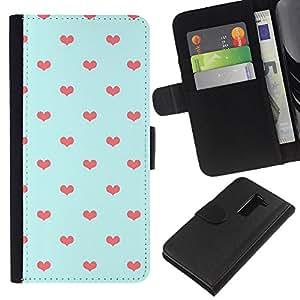 KLONGSHOP // Tirón de la caja Cartera de cuero con ranuras para tarjetas - Azul anaranjado del lunar Amor - LG G2 D800 //